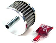 Steel Base Crankcase Vent Filter with Chrome Top