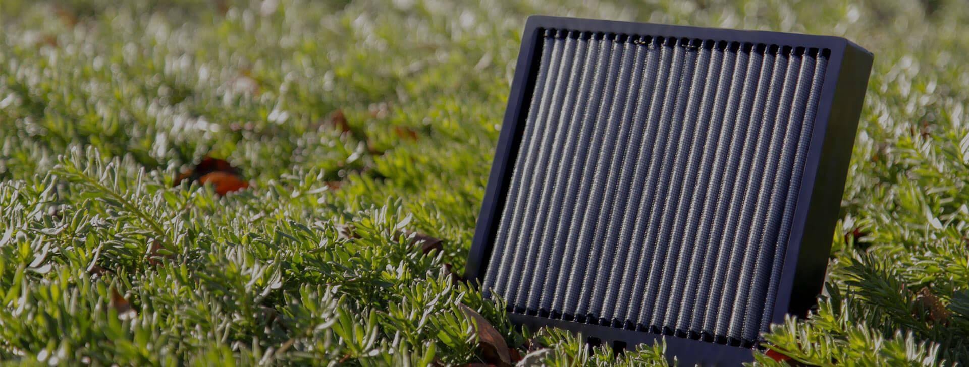 cabin air filter in grass